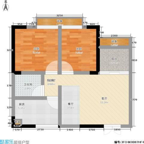 梨树新居2室1厅1卫1厨48.81㎡户型图