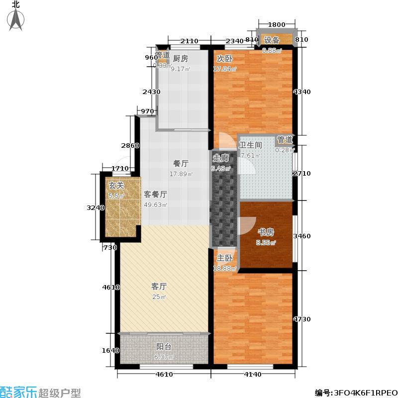 万科天泰金域国际132.00㎡万科天泰金域国际户型图E1户型三室两厅一卫(2/9张)户型3室2厅1卫