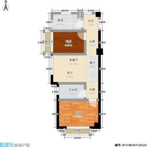盛世名门2室1厅1卫1厨58.60㎡户型图