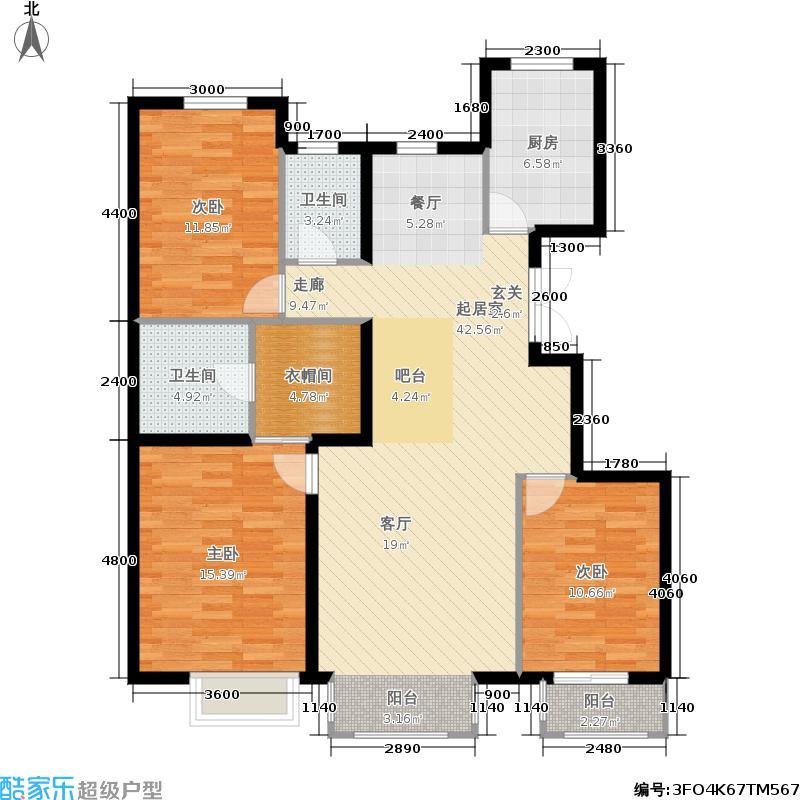 银丰花园c1户型3室2卫1厨