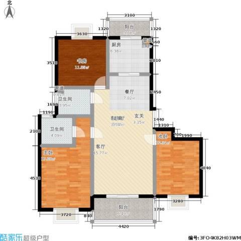 天业盛世花城3室1厅2卫1厨142.00㎡户型图