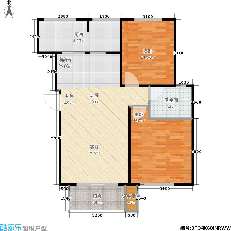 重汽翡翠清河86.68㎡东区18号楼 两室两厅一卫户型2室2厅1卫