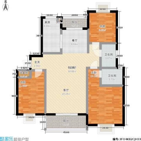 天业盛世花城3室1厅2卫1厨145.00㎡户型图