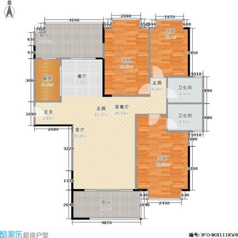 南港名轩3室1厅2卫1厨133.00㎡户型图