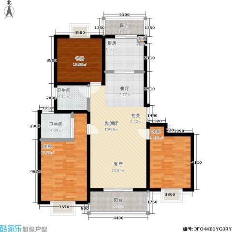 天业盛世花城3室1厅2卫1厨99.06㎡户型图