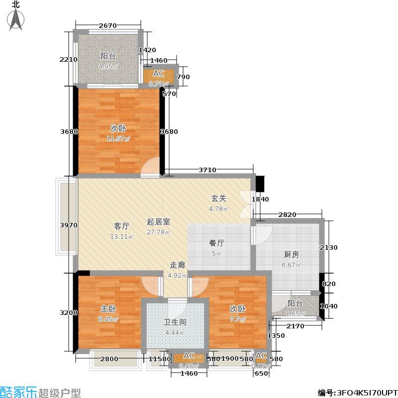 融汇温泉城82.40㎡融汇温泉城户型图三房二厅一卫-套内面积约82平方米(21/22张)户型10室