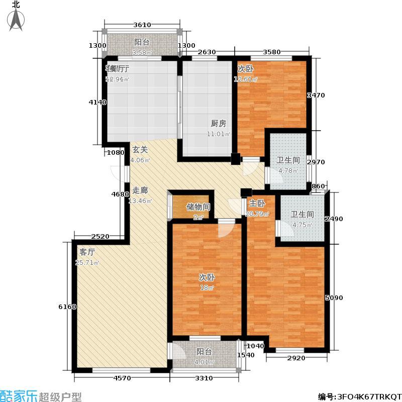 白金瀚宫户型3室1厅2卫1厨