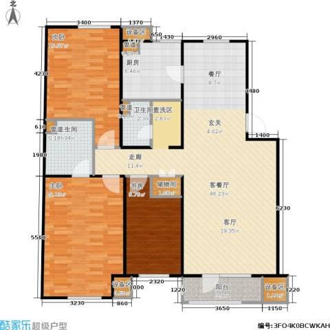 万科・深蓝3室1厅2卫1厨151.00㎡户型图