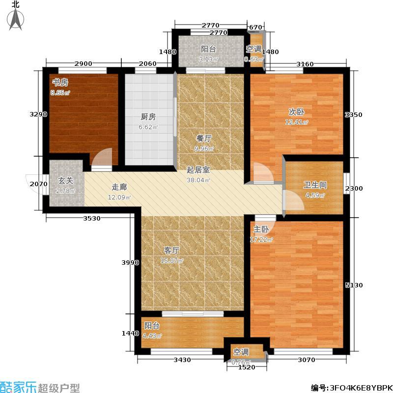 大尧・风华盛景116.00㎡F户型 三室两厅一卫户型3室2厅1卫