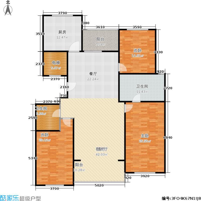 九英里颢苑190.00㎡B户型三室两厅两卫 190㎡户型3室2厅2卫
