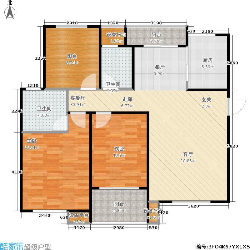 重汽翡翠清河121.27㎡西区15号楼 三室两厅两卫户型3室2厅2卫