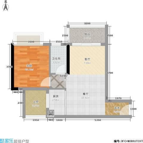 恒福新城1室1厅1卫1厨55.00㎡户型图