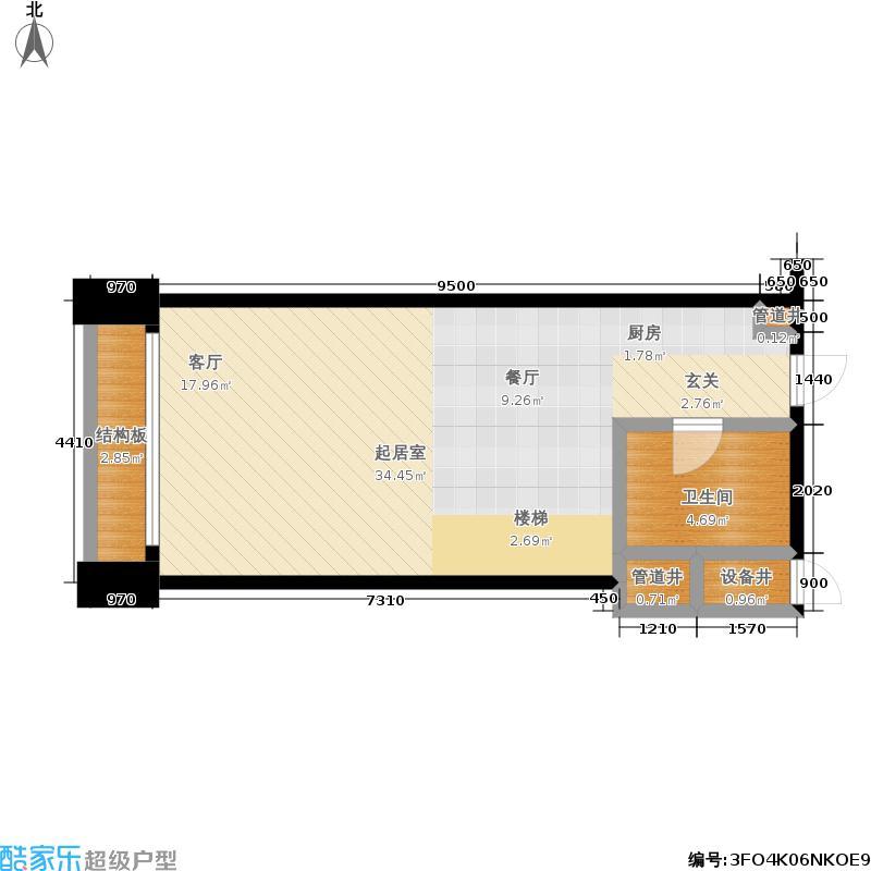 利兹城市公寓50.00㎡房型复式户型