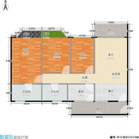 华润广场3室0厅2卫1厨155.00㎡户型图