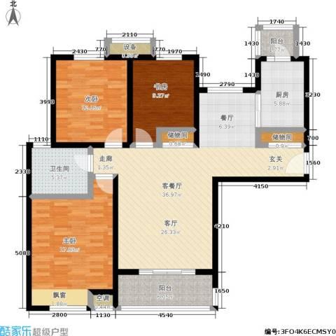 湖山新意3室1厅1卫1厨115.00㎡户型图