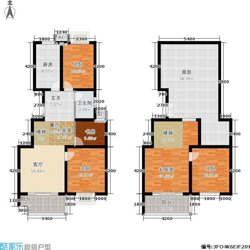 圣泽方正园国标盛宴H/J复式3号楼三室两厅一卫165.61-157.45平米户型