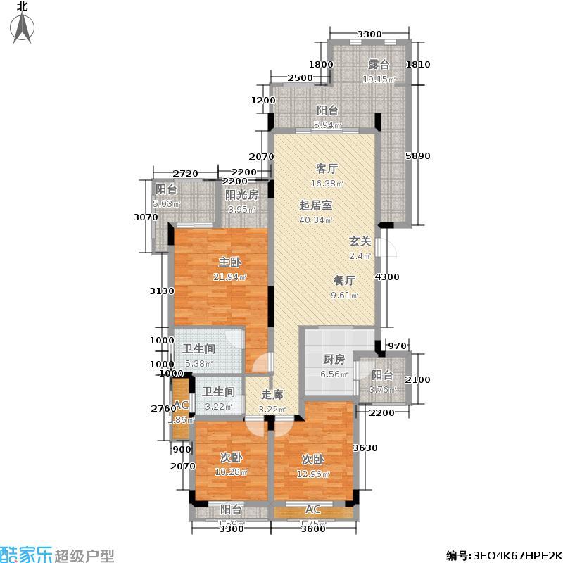 金科天湖小镇141.00㎡42号楼B1户型 三室两厅两卫 赠送面积9平米户型3室2厅2卫