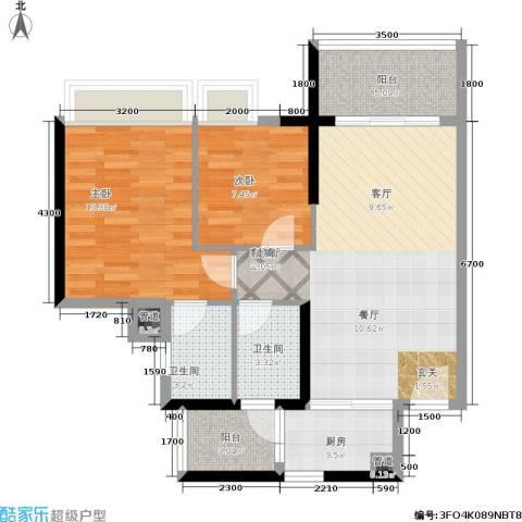 恒福新城2室1厅2卫1厨82.00㎡户型图