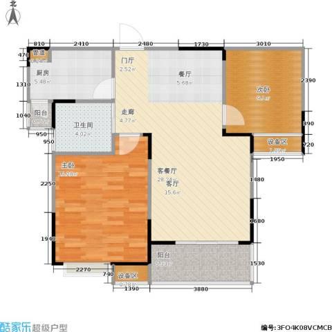 今创启园2室1厅1卫1厨84.00㎡户型图