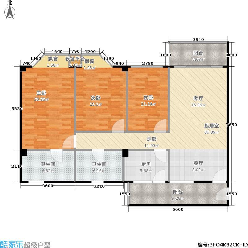华润广场户型3室2卫1厨