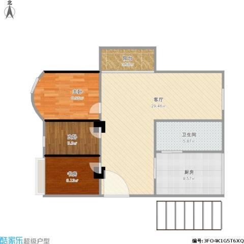 萝岗奥园广场3室1厅1卫1厨92.00㎡户型图