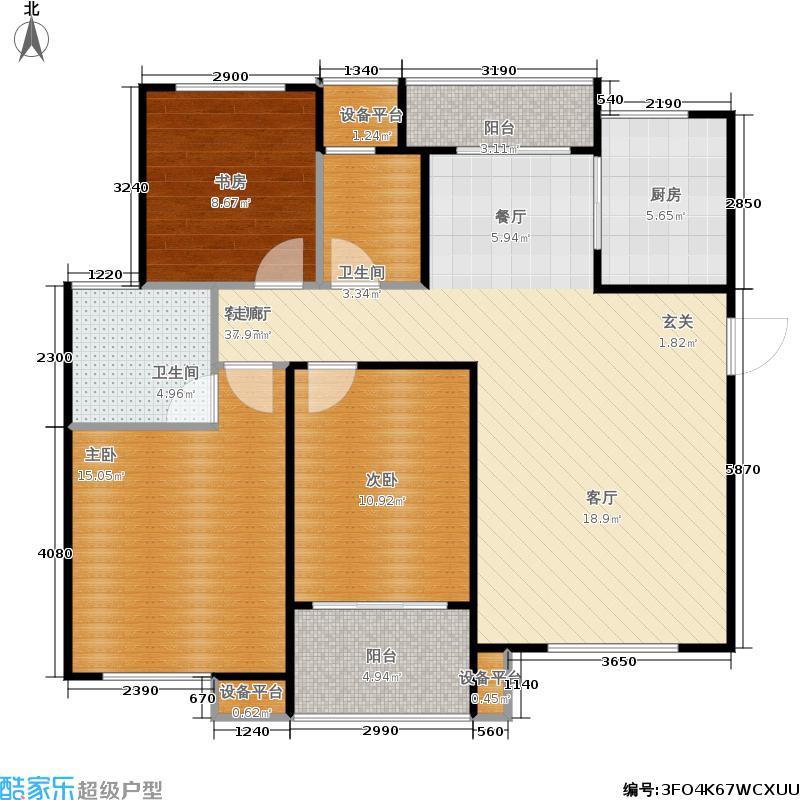 重汽翡翠清河121.27㎡西区11号楼 三室两厅两卫户型3室2厅2卫