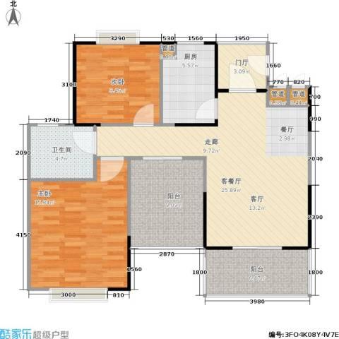 今创启园2室1厅1卫1厨89.00㎡户型图