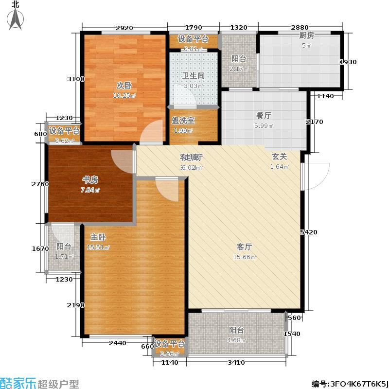 重汽翡翠清河104.00㎡西区5号楼 三室两厅一卫户型3室2厅1卫