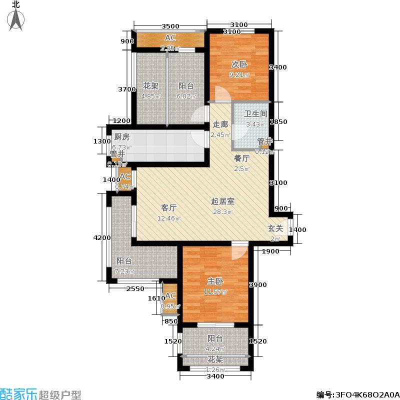 中国中铁・诺德名城101.00㎡D户型 三室两厅一卫户型3室2厅1卫