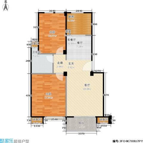 鼎泰花园2室1厅1卫1厨81.19㎡户型图