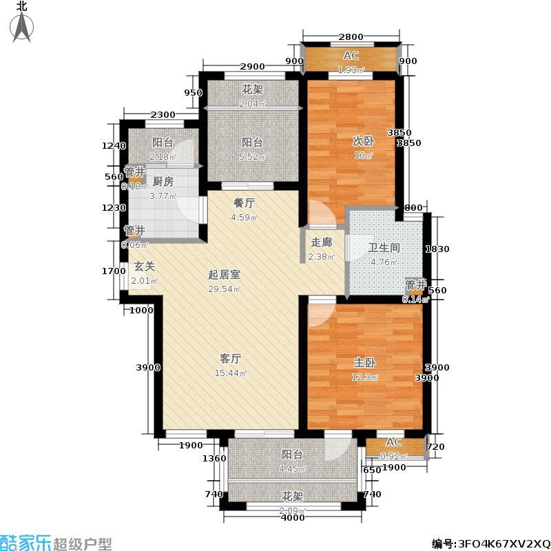 中国中铁・诺德名城101.00㎡G户型 三室两厅一卫户型3室2厅1卫