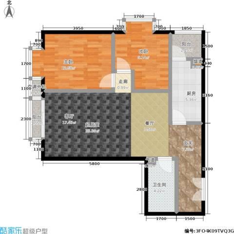 丽水莲花2室0厅1卫1厨98.00㎡户型图