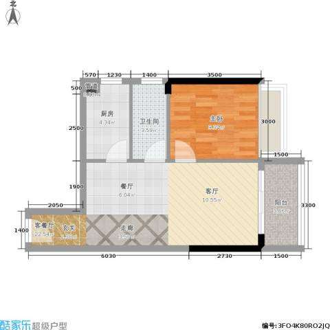 恒福新城1室1厅1卫1厨60.00㎡户型图