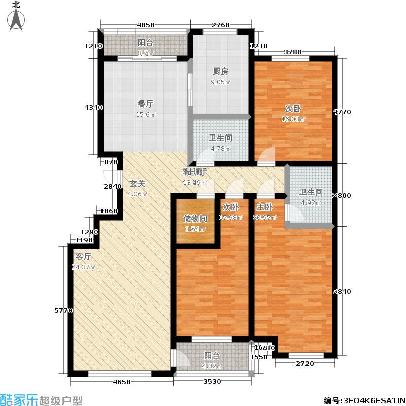 白金瀚宫157.00㎡三房户型