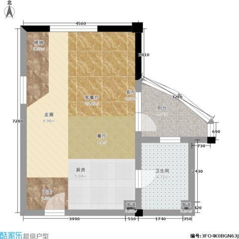 天元公寓1厅1卫0厨51.00㎡户型图