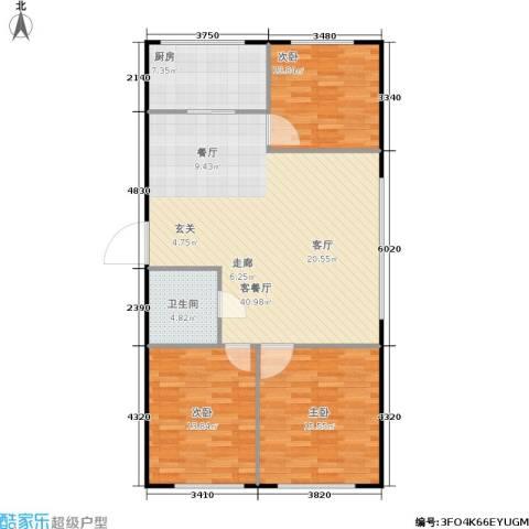 金海华府3室1厅1卫1厨100.00㎡户型图