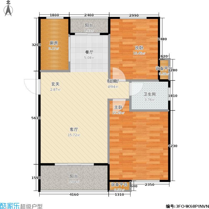 重汽翡翠清河94.48㎡东区24号楼 两室两厅一卫户型2室2厅2卫
