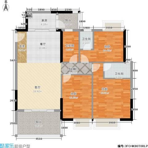 恒福新城3室1厅3卫1厨127.00㎡户型图