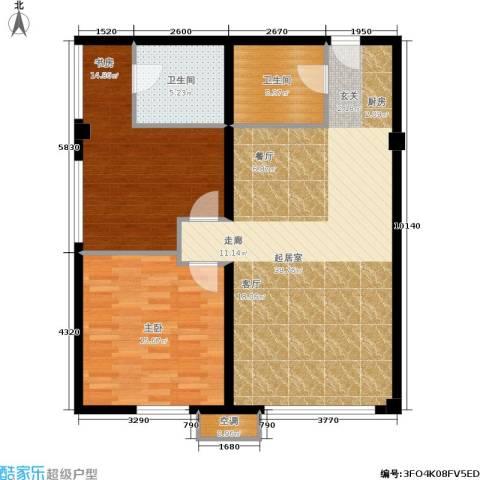 中齐未来城2室0厅2卫0厨90.00㎡户型图