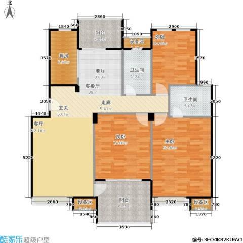 鼎泰花园3室1厅2卫1厨120.00㎡户型图