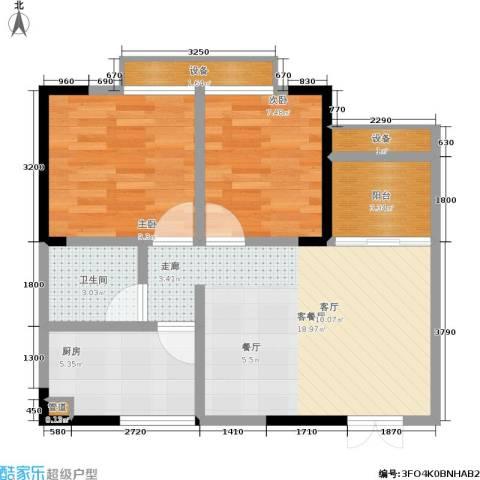 梨树新居2室1厅1卫1厨53.00㎡户型图