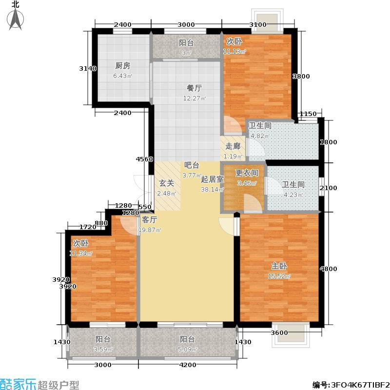 银丰花园5号楼D5户型3室2卫1厨