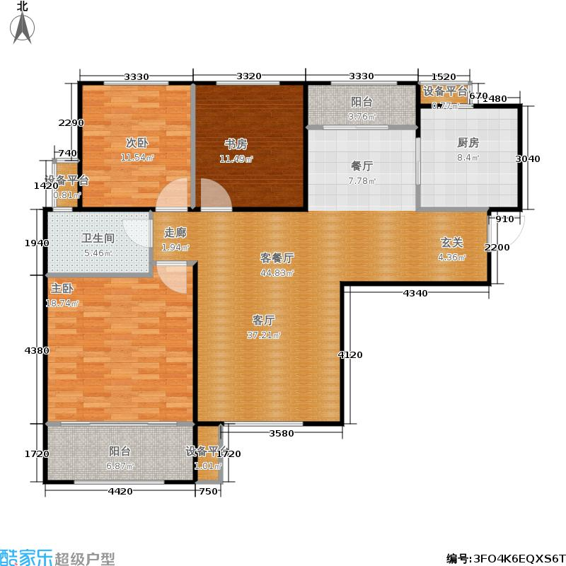 名辉豪庭122.00㎡尚峰邸 三室两厅一卫户型3室2厅1卫