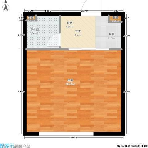 香岛丽湾1室0厅1卫1厨55.00㎡户型图