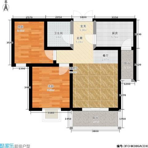 天业盛世花城2室1厅1卫1厨81.00㎡户型图
