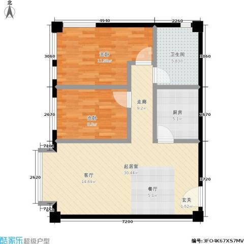海景华城2室0厅1卫1厨61.95㎡户型图