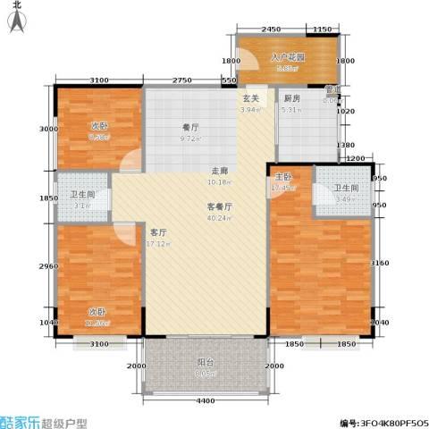 南港名轩3室1厅2卫1厨130.00㎡户型图