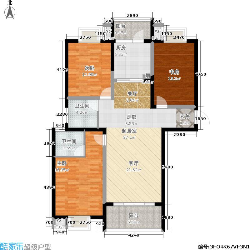圣泽方正园1#楼上海伦巴B户型3室2厅2卫1厨 121平米户型3室2厅2卫