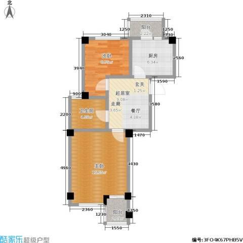 海景华城2室0厅1卫1厨58.00㎡户型图