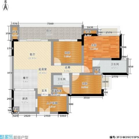 富力现代广场3室0厅2卫1厨122.00㎡户型图
